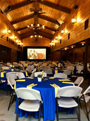 The banquet hall at the Reid Barn - home of the Spring Fling dinner auction